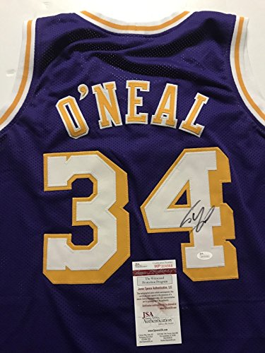 Autographed/Signed Shaquille Shaq O'Neal Los Angeles Lakers Purple Basketball Jersey JSA COA - Signed Los Angeles Lakers Jersey