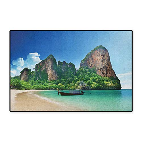 Tropical,Door Mat for Tub,Railay Beach Krabi Thailand Small Boat Crystal Water Rock Cliff Tropical Landscape,Customize Door Mat with Non Slip Backing,Blue Green,Size,16