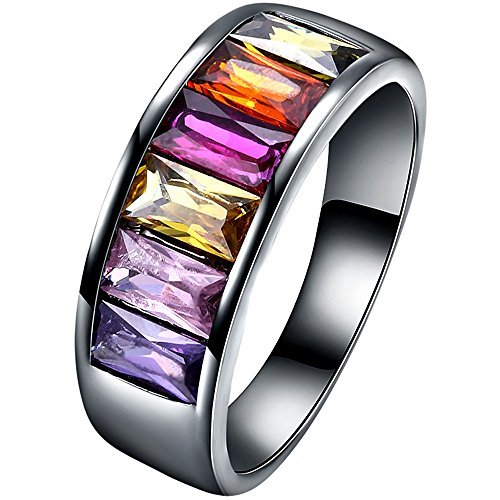 XAHH Women Black Gold Square Cushion Cut Multicolor Gemstone Ring Anniversary Wedding Band for Lady Girl Size 9 (Gold Multi Color Gemstone Ring)