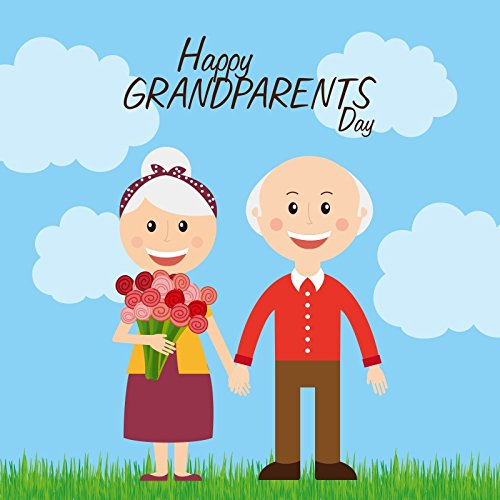 Baocicco Happy Grandparent's Day Blue Sky White Cloud Backdrop 5x5ft Cotton Polyester Photography Backgroud Grandfather Grandmother Hands with Smile Flower Bouquet Grass Family Party Celebrate