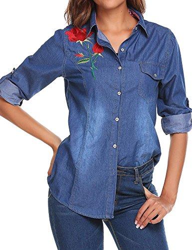 SoTeer Women's Long Sleeve Lightweight Denim Blouse Office Lady Lapel Slim Tops Dark Blue ()