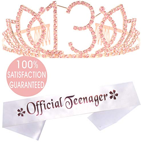 13th Birthday Tiara and Sash, Happy 13th Birthday Party Supplies, Official Teenager Satin Sash Tiara Birthday Crown,13th Birthday Party Supplies and Decorations, 13th Birthday Decorations for Girls (Birthday Party For 13 Yr Old Girl)