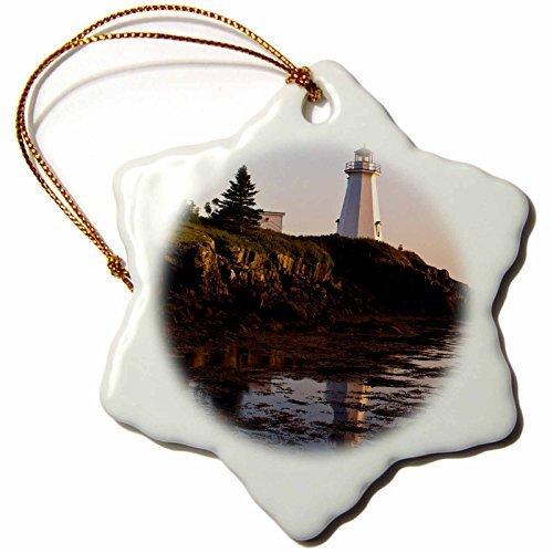 OneMtoss Danita Delimont Lighthouses New Brunswick, Letite Passage Lighthouse CN MDE Michael DeFreitas Snowflake Porcelain Ornament for $<!--$10.99-->