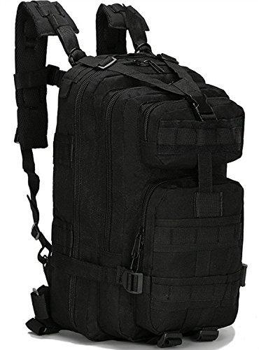 tueenhuge多機能アウトドアミリタリータクティカルバックパックリュックサックキャンプハイキングトレッキングバッグ B01GG09BPC ブラック
