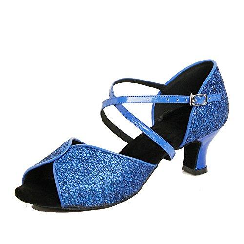 Peep Glitter Crisscross Womens Patent Royal Tango Shoes Latin Dance toe Straps TEAAZwxqd