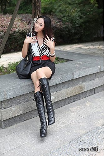 Nonbrand Women's Slim Heel Synthetic Mid Calf Boots Black OUsYaqNU