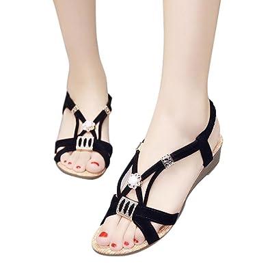 Women Wedges Sandal Beaded Leisure Indoor Outdoor Flip-flops Lady Sandals Peep-Toe Beach Shoes