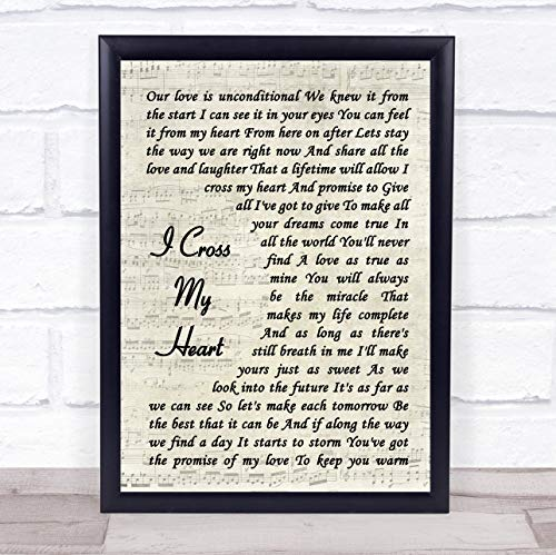I Cross My Heart Vintage Script Song Lyric Quote - Cross Wall Heart
