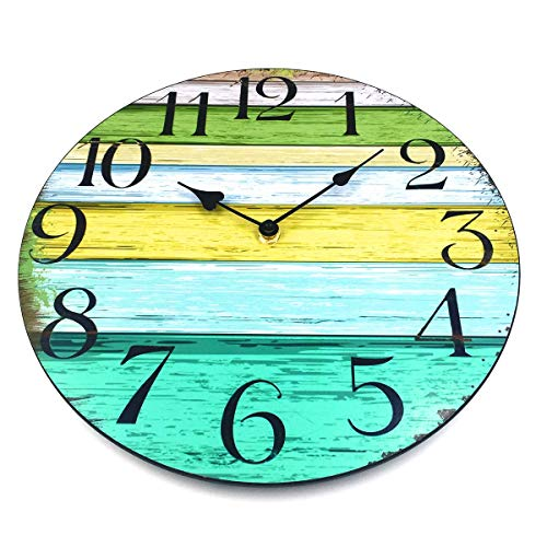 """Coindivi 14"""" Silent Large Wall Clock Battery Operated Non-Ticking, Vintage Wood Wall Clocks Decorative for Kitchen Home Office Wall Decor, Frameless Retro Wall Clock School Bathroom Living Room 2"""