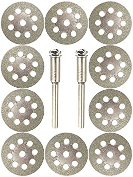2 Mandrel Dremmel Rotary Tool Set 10Mini Diamond Saw Blade Cutting Disc Wheel