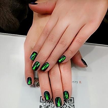 Yunai falsas uñas – 24pcs/set celofán uñas postizas Francés uñas espejo con pegatinas de