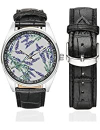 Sunflowers and Lavender Flowers Waterproof Mens Stainless Steel Casual Leather Strap Watches, Black