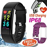 GBD 0.96″ IP68 Waterproof Sport Fitness Tracker Smart Watch for Men Women Kids Boys Girls Gift Travel Camping with Heart Rate Blood Pressure Monitor Wearable Bracelet Wrist Watch for Android iOS