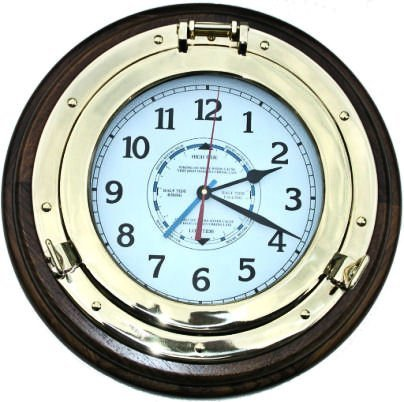 Solid Brass Nautical Porthole Tide and Time Wall Clock -  - wall-clocks, living-room-decor, living-room - 51iKKOGBwaL -