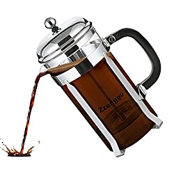 Zzanggu French Press Coffee Tea Maker Pot Travel Mug with Double Stainless Steel Filter and Replacement Durable Glass (34oz, 1L), Sliver from Zzanggu