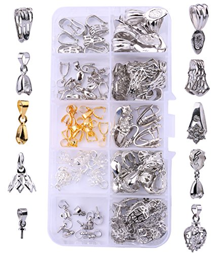 Sdootjewelry 100 pcs 10 Types Pendant Bails Glue on Bails DIY Clip Pinch Bails Jewelry Findings Necklace Pendant Connector Findings for Pearls Gemstone Jade and Crystal Pendants