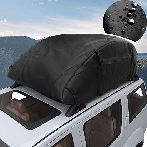 (Waterproof Rooftop Cargo Carrier - Heavy Duty Roof Top Luggage Storage Bag Perfect for Car, Truck, SUV, Van with/Without Rack - 15 Cubic Feet)