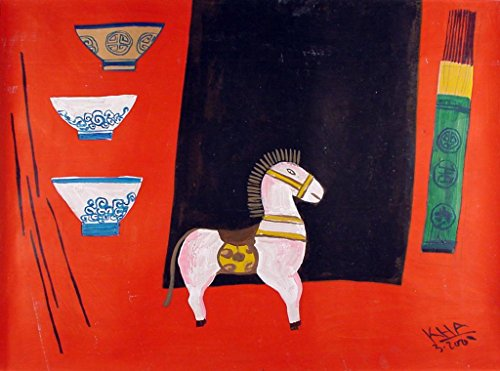 Common Table VII, gouache painting by Vietnam-based artist Bui Cong Khanh