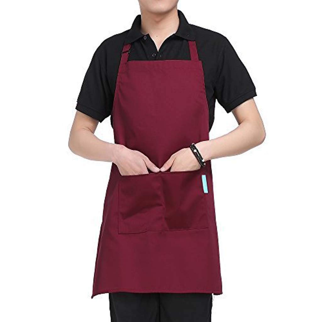 Connia Women Apron Fashion Coffee Shop Waist Kitchen Adult Florist Home Gown Linen Loose Work Dress with Pocket (Wine)