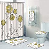 Bathroom 5 Piece Set shower curtain 3d print,Yellow Flower,Hand Drawn Style Sunflowers on Twigs Petals Growth Botany Summertime Decorative,Pale Yellow Black,Bath Mat,Bathroom Carpet Rug,Non-Slip,Bath
