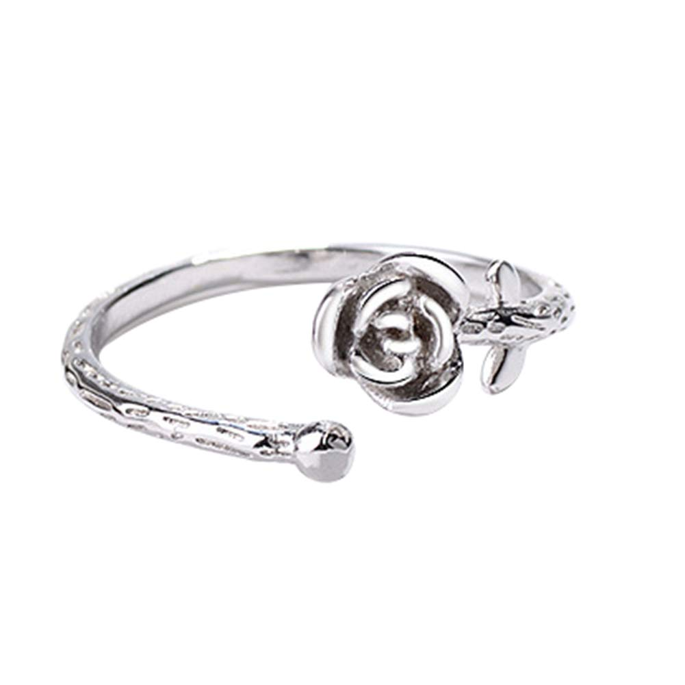 Yodio Rose Shaped Silver Copper Dia 6mm Rings