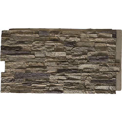 "Ekena Millwork PNU24X48CNSR Canyon Ridge Stacked Stone Stonewall Faux Stone Siding Panel 48""W x 24""H x 1 1/4""D Smokey Ridge 1 EA"