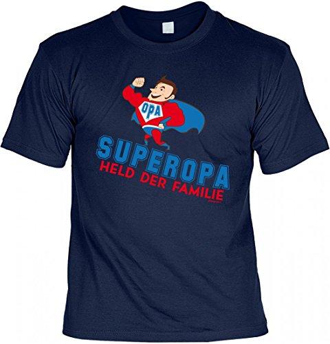 T-Shirt Grossvater Opa - Superopa - Held der Familie - Geschenk Idee mit Humor zum Vatertag Opatag Geburtstag - navyblau