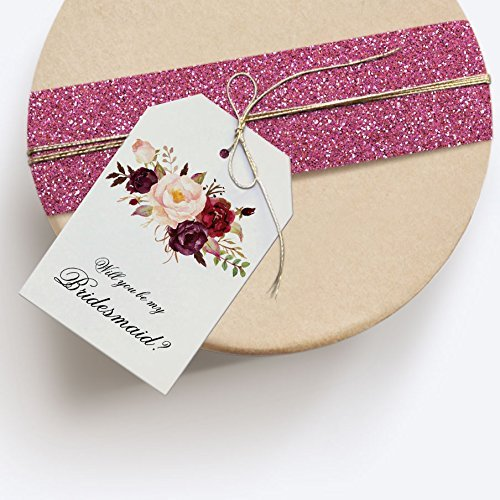 Bridal Bouquet Will You Be My Bridesmaid Gift Tag, Bridesmaid Box, Oversized Wedding Party Proposal Gift Bag Tag ()