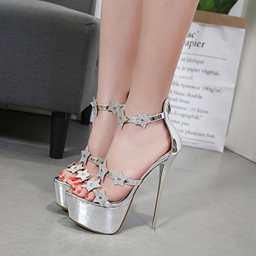 i tacchi dei black a i piedi l'estate spillo i a alti tacchi impermeabilizzare 37 GTVERNH tacchi primavera bene tacchi sexy i la e dita 16cm tacchi spillo sandali WZqBH