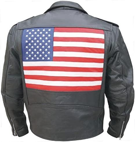 Mens Classic Leather Motorcycle Jacket with USA Flag on the back and embroidered stars. Sizes 40-56