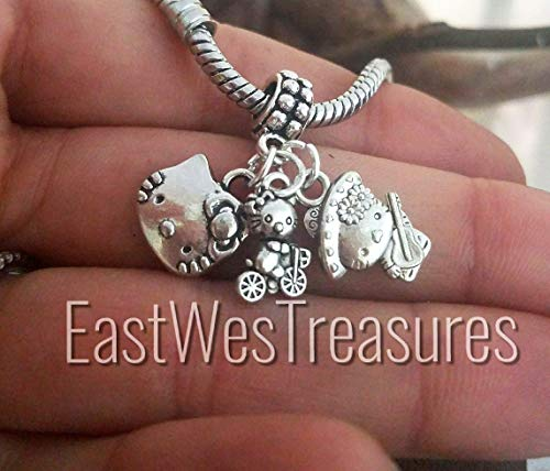 Kitty Cat Obsessed charm Pendant- For Charm bracelets and chain necklaces