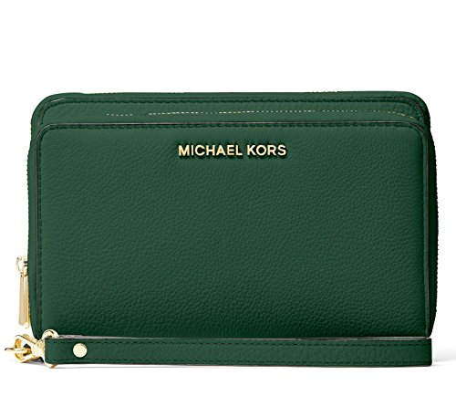 Michael Kors Adele Leather Double Zip Phone Case Wristlet Wallet (Moss Green) by MICHAEL Michael Kors