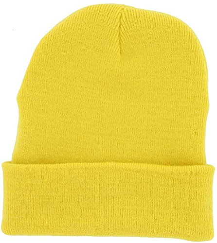 DealStock Plain Knit Cap Cold Winter Cuff Beanie (40+ Multi Color Available) (Yellow)