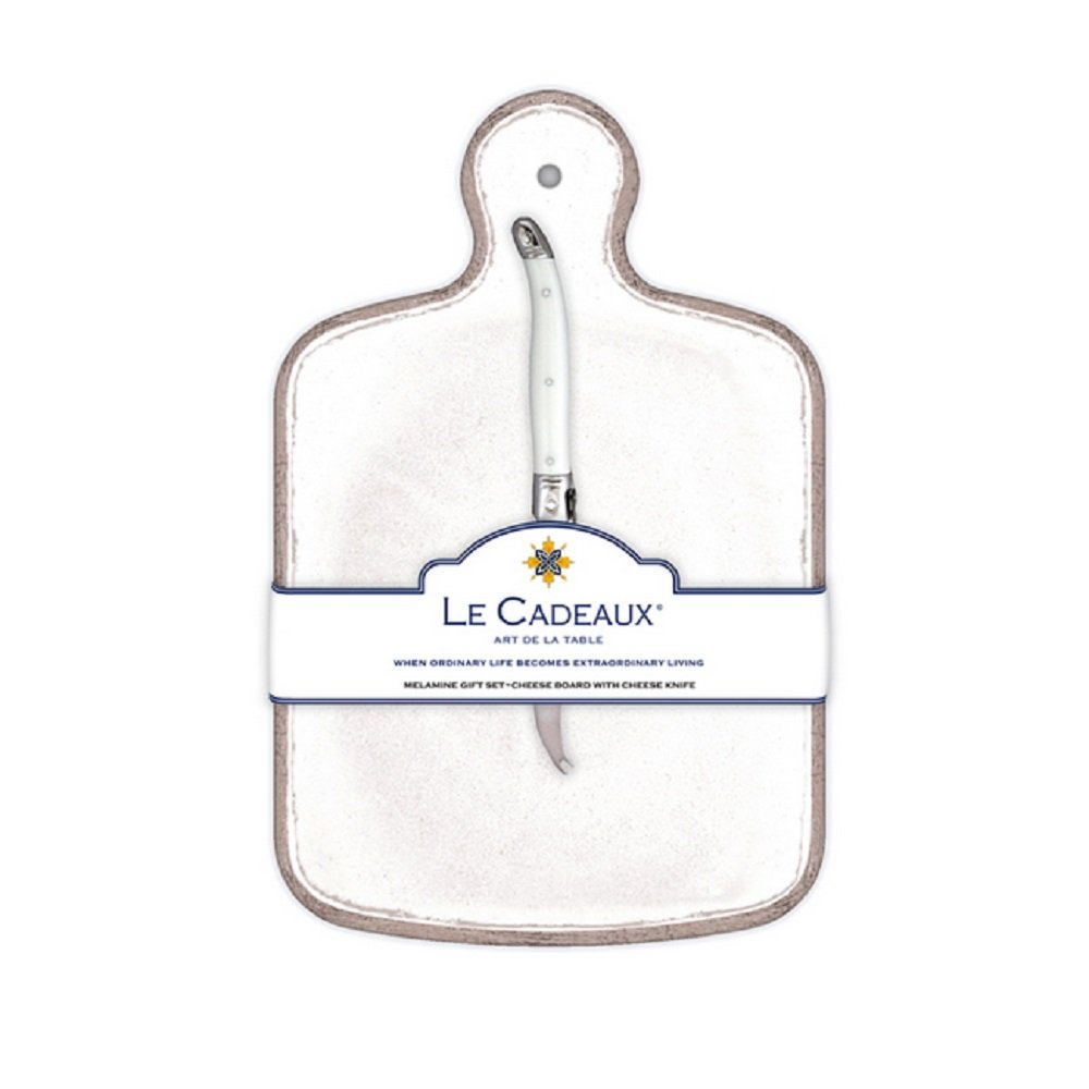 Le Cadeaux Rustica Cheese Board With Knife, White