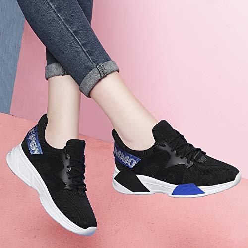 Malla Casual de Otoño Transpirable Black de Zapatos Tenis Zapatos AJUNR Las Zapatos Mujeres blue Zapatos 5A0Wn8vFF