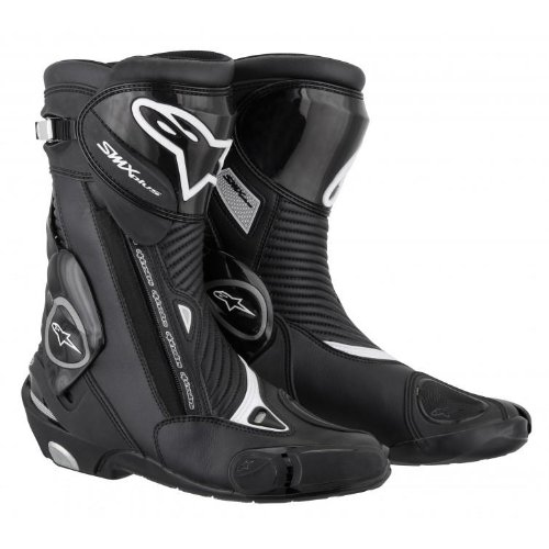 Alpinestars S-MX Plus Men's Leather Sports Bike Motorcycle Boots - Black / Size 45