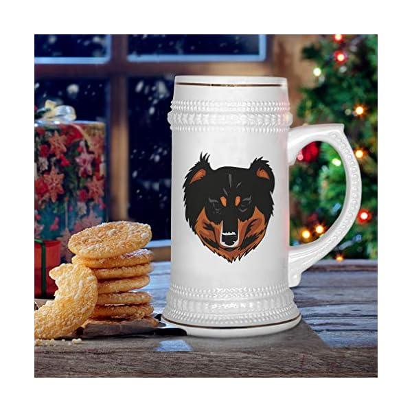 Custom Beer Mug English Shepherd Head Ceramic Drinking Glasses Beer Gifts White 18 OZ Design Only 6