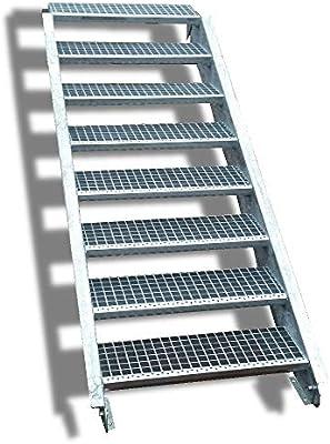 Acero Escalera exterior Escaleras mejilla Escaleras galvanizado 8 peldaños GH 120 – 160 cm 8 – 120 de Z: Amazon.es: Bricolaje y herramientas