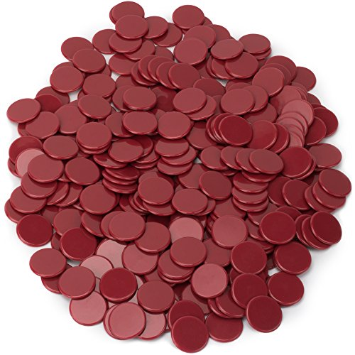 300-pack of Solid Opaque 3/4-inch Bingo Chips, Great for Classroom Counting and Math Activities by Royal Bingo Supplies (Red)