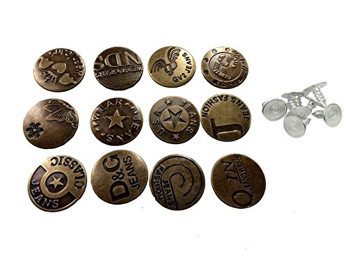 Happy Will 50 Pcs Vintage Metal Jeans Button Replacement with Track Button Diameter 0.8 Inch Pattern Random Shipping with Stylus