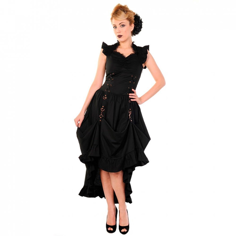 Banned, Women's Gothic Steampunk Victorian Sleeveless Maxi Dress-Copper Dress Black