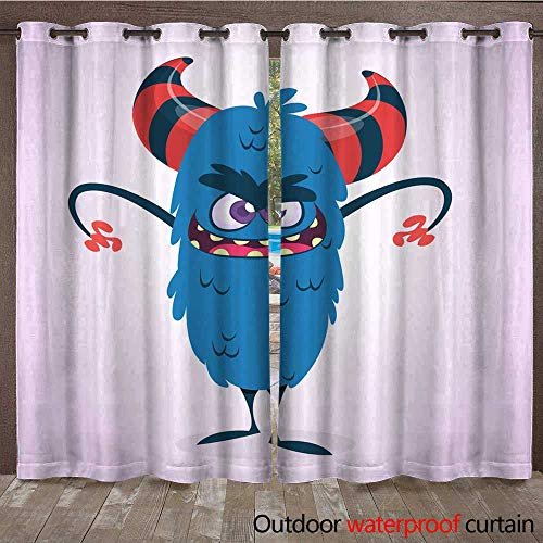 Outdoor Curtains for Patio Sheer Happy Blue Cartoon Monster Character Vector Halloween Illustration Yeti or Bigfoot W72 x L84 -