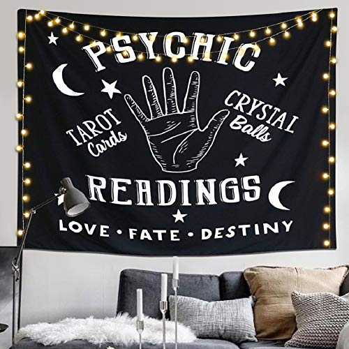"""LAVAY Tapestry Moon and Star Psychic Readings Black Mandala Wall Hanging Hand Bohemian Wall Blanket Bedroom Living Room Home Decors (Psychic Reading, L:58""""x79""""/148x200cm)"""