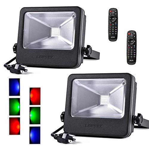 (LOFTEK RGB LED Spotlight, 2-Pack 30W Upgraded Outdoor Color Changing Floodlight with Plug, IP65 Waterproof Dimmable Wall Washer Light, Stage Lighting)