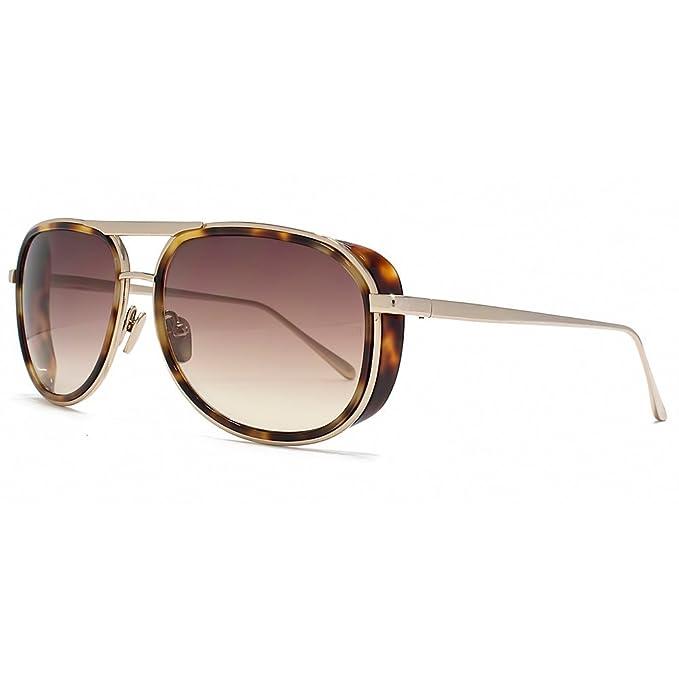 fd951d5fda8 Linda Farrow Luxe D Frame Aviator Sunglasses in Tortoiseshell   Light Gold  LFL236 C3 58 58