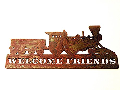 Welcome Rusted Rustic Metal Locomotive product image
