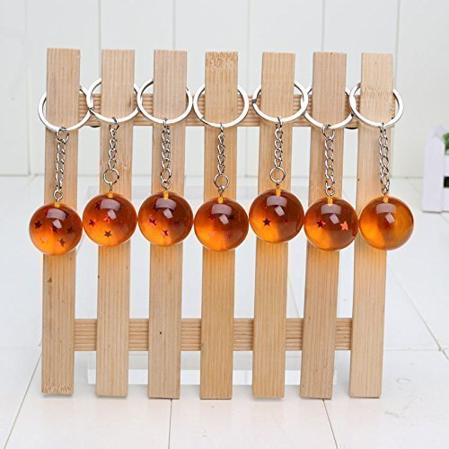 7pcs/set 2.5cm Dragon Ball Z New In Bag 7 Stars Crystal Balls Keychain Pendant 1 2 3 4 5 6 7 star Complete set by WCSeiya/Toy
