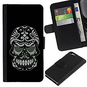 Apple (4.7 inches!!!) iPhone 6 / 6S - Dibujo PU billetera de cuero Funda Case Caso de la piel de la bolsa protectora Para (Cool Evil Sugar Skull)