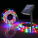 BOSWEE Solar Strip Lights, 16.4ft-5m LED Flexible and Cuttable Solar Strip Lights, Waterproof IP67, 8 Modes, Auto ON/Off Light Strip for Indoor Outdoor Lighting (RGB)
