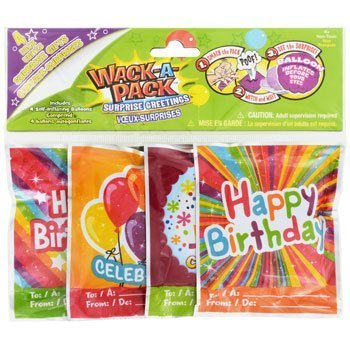 Wack-A-Pack 12 HAPPY BIRTHDAY Mini Balloons - whack the bag to inflate them